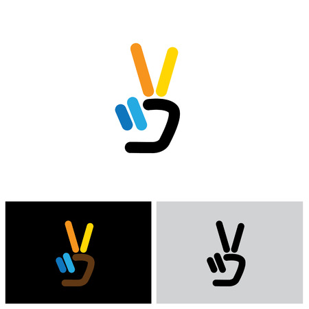 v hand victory symbol vector logo icon. this icon can also represent victory, winner, winning, success, progress, triumph, peaceのイラスト素材