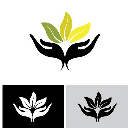 Ilustración de concept of wellness, protecting nature - vector graphic. also represents concepts like environment protection, spa resorts, etc - Imagen libre de derechos