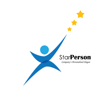 Vektor für vector logo icon of person aiming for stars. also represents aiming high, reaching stars, winning performance, trying hard, success - Lizenzfreies Bild