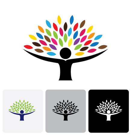 Ilustración de human life logo icon of abstract people tree vector. this design represents eco friendly green, embracing, hug, friendly, education, learning, green tech, sustainable growth & development - Imagen libre de derechos
