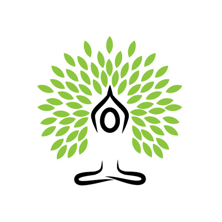 Illustration pour people life tree doing meditation, yoga and prayers - vector logo icon - image libre de droit