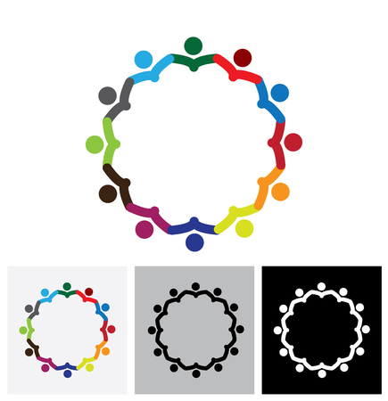 Illustration for office employees or company staff meeting - vector logo icon. This also represents support group meeting, students learning, community unity, management strategy & planning - Royalty Free Image