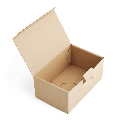 Opened empty box isolated on white
