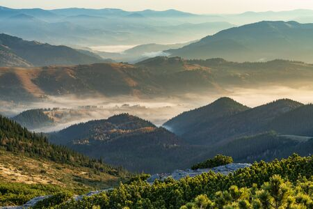 Photo for Amazing morning at the mountain top. Panoramic  view at mountain valleys covered with fog and lit by morning sun. - Royalty Free Image