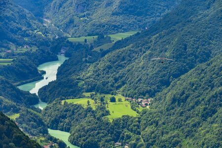 Sunny Soca valley. Popular place for extreme sports and active recreation in Slovenia