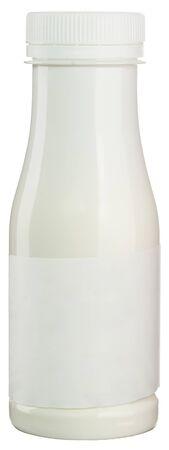 Photo pour White plastic milk or yogurt bottle with blank label isolated on white. - image libre de droit