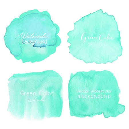 Illustration pour Green abstract watercolor background. Watercolor element for card. Vector illustration. - image libre de droit