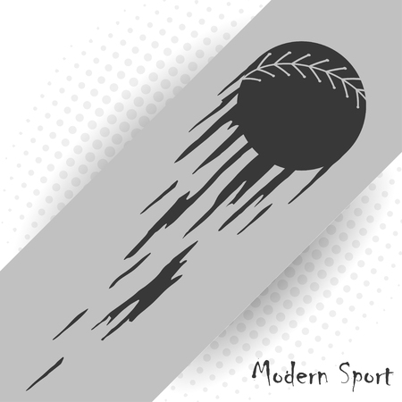 Modern style baseball vector background with a silhouette of baseball ball.のイラスト素材