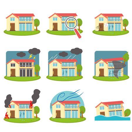 Illustration pour House Trouble Disaster Set - image libre de droit