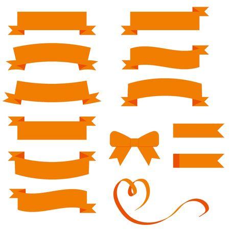 Foto per Various orange ribbon material sets. - Immagine Royalty Free