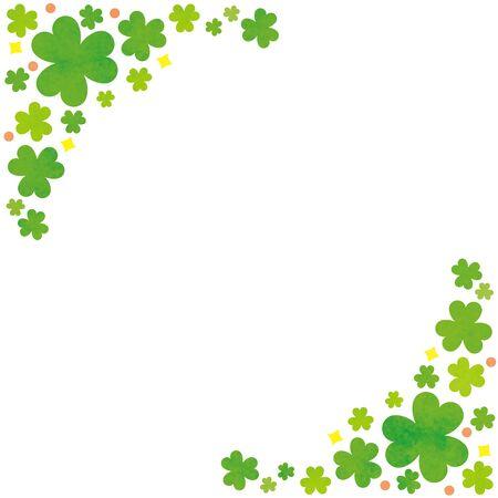 Illustration pour Trefoil clover, plant frame rectangle. Two corner design. - image libre de droit