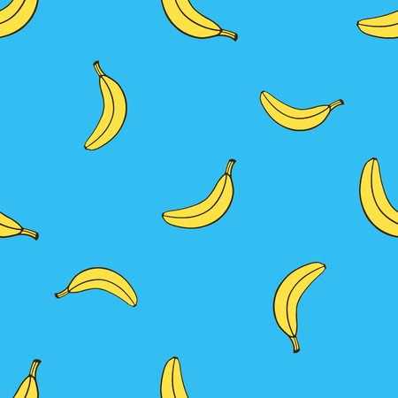 Illustration pour Vector illustration. Seamless pattern with falling yellow not peeled banana in pop art style on blue background. Healthy vegetarian food. Pattern with contour - image libre de droit