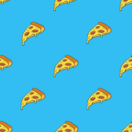 Foto de Vector illustration. Seamless pattern with pizza slice in pop art style on blue background. Fast food and italian cuisine. Pattern with contour - Imagen libre de derechos