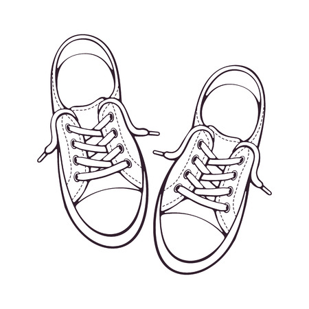 Ilustración de Vector illustration. Pair textile sneaker with rubber toe and loose lacing. Hand drawn doodle. Shoes of modern teenagers skaters. Cartoon sketch. Isolated on white background - Imagen libre de derechos