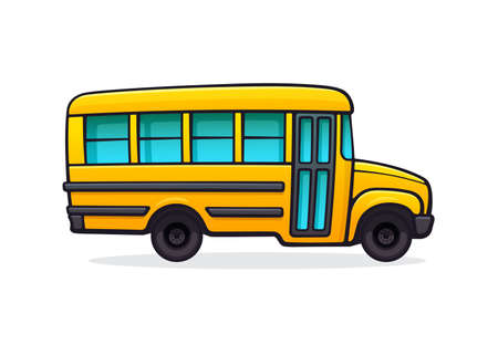 Illustration for Yellow school bus. Passenger transport for transportation of children to school. Back to school. Vector illustration with outline in cartoon style. Clip art Isolated on white background - Royalty Free Image