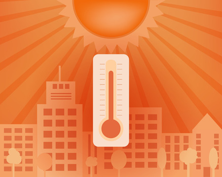 Heat day in the city with sun and thermometer. Vector summer concept.