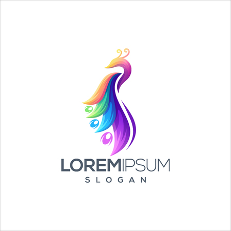 Illustration pour awesome colorful peacock logo design vector ready to use - image libre de droit