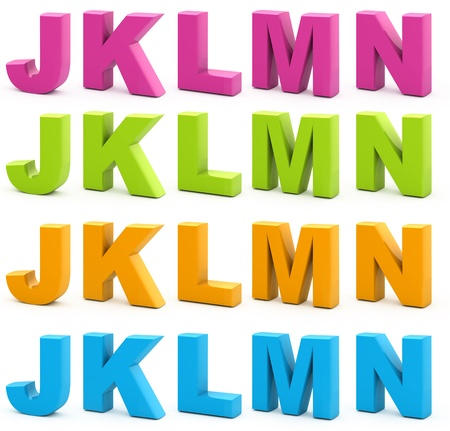 Colorful alphabet. Set of 3d letters isolated on white. Part 3 of 6.