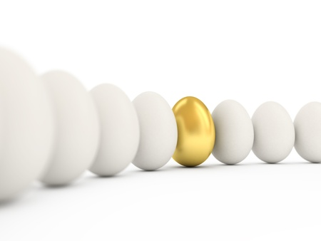 Golden egg in a row of the white eggs. 3d illustration with realistic factures and DOFF.