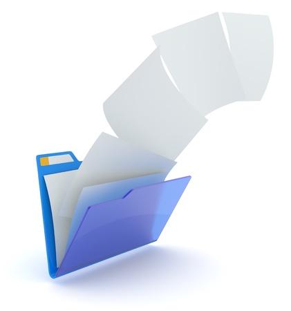 Uploading files from blue folder. 3d illustration.
