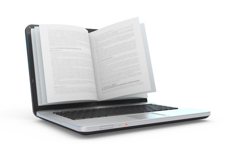Laptop with book pages isolated on white.