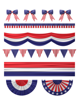 USA  independence day decoration borders set isolated on white.