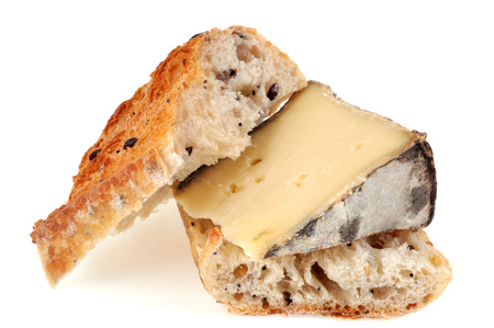 Savoy tomme cheese and bread slice