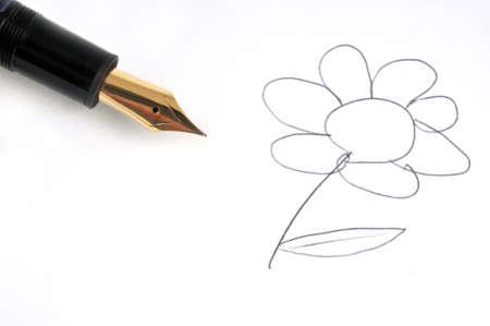 Photo pour Flower drawn with feather pen close-up on white background - image libre de droit