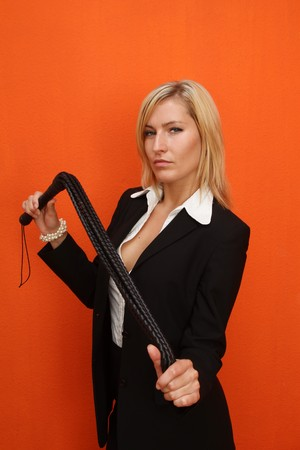 Woman with leather whip