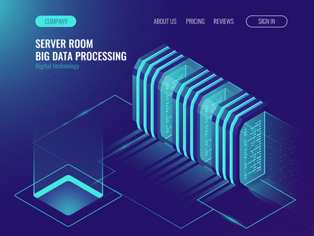 Cloud server room concept, data center, processing big data, networking process, data routing and storage ultraviolet isometric vector illustration