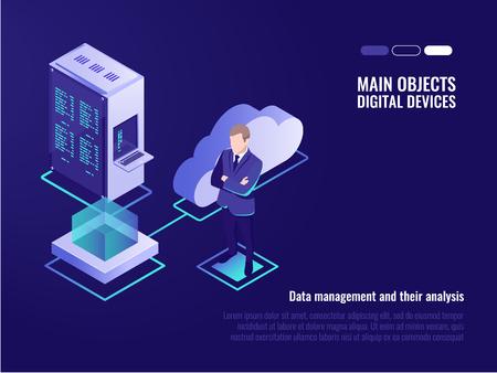 Illustration for Cloud servers, web site hosting, global files storaging, server rack, businessman, cloud icon, isometric vector illustration - Royalty Free Image