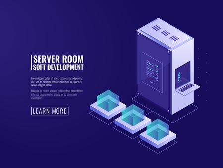Illustration pour Design of information systems icon, web server, computer equipment, big data processing, Internet client, network connection isometric vector - image libre de droit