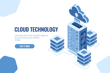 Illustration pour Server room, datacenter isometric icon, on white background, cloud technology computing, data database transfer vector - image libre de droit