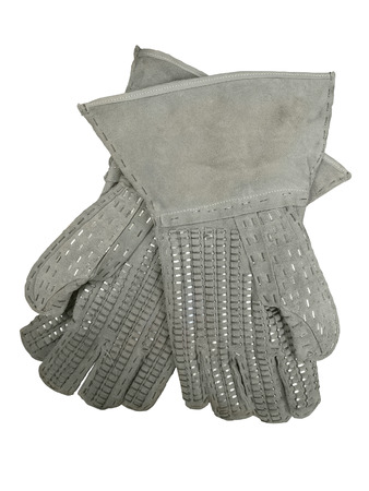 Barbed wire handling gloves. Pair of leather protective gloves with metal staples.