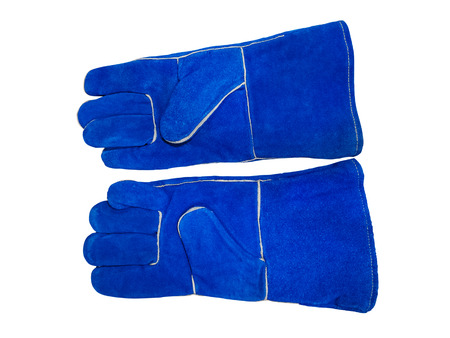 Pair of blue leather safety gloves isolated on white background