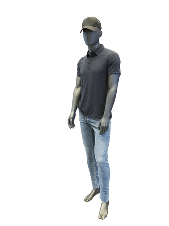 Full-length male mannequin dressed in t-shirt and blue jeans, isolated on white background. No brand names or copyright objects.
