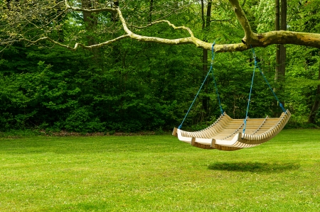 Photo pour Curved swing bench hanging from the bough of a tree in a lush garden with woodland backdrop for relaxing on those hot summer days - image libre de droit