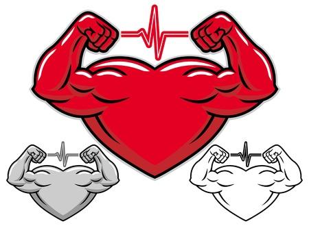 Strong heart cartoon character