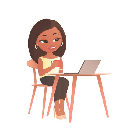 Nice girl sitting at a table with a laptop computer. In the hands of a cup of coffee. There is a smile on his face. Cartoon vector illustration.