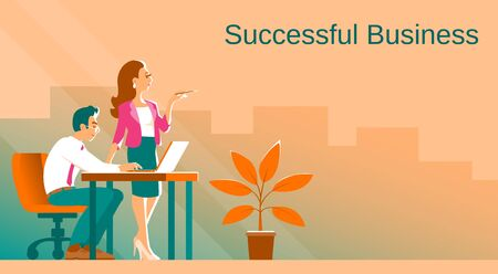 Business man and woman in the process of work. On the table is a laptop. There is an office plant on the floor. In the background the city. Place for text. Vector illustration.