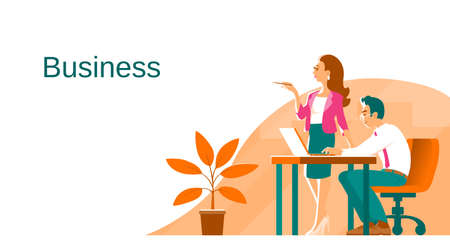Business man and woman in the process of work. On the table is a laptop. There is an office plant on the floor. Banner with place for text. Vector illustration.