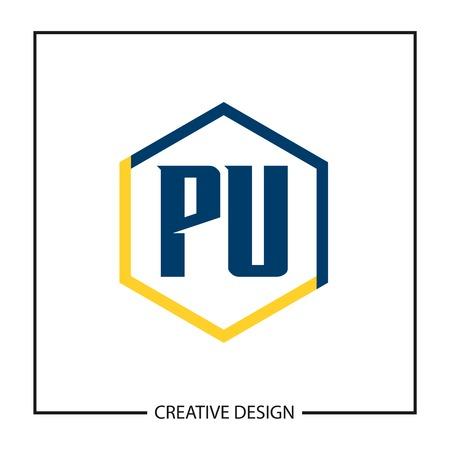 Initial PU Letter Logo Template Design