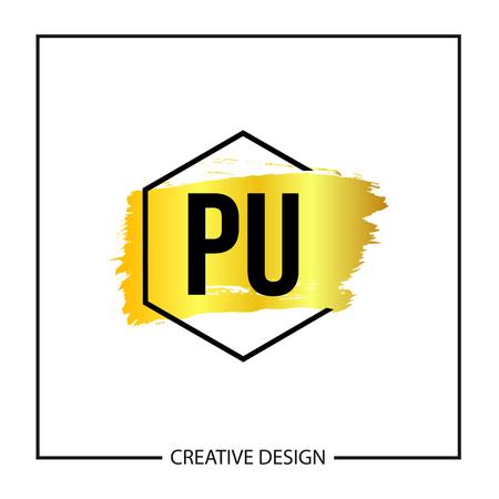 Initial Letter PU Logo Template Design