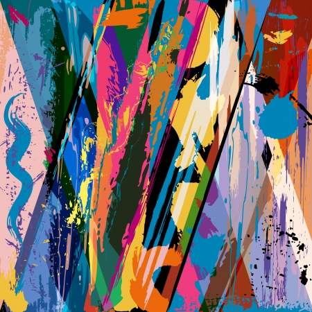 abstract background composition with paint strokes and splashes