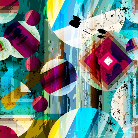 Illustration pour abstract geometric pattern background, with circles, strokes and splashes, seamless - image libre de droit
