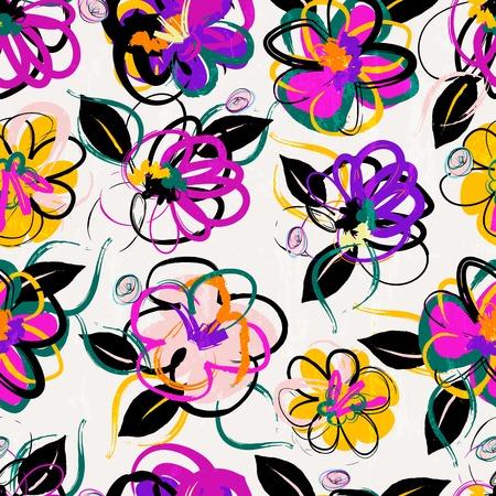 Illustration pour floral seamless pattern background, with strokes, summer flowers - image libre de droit