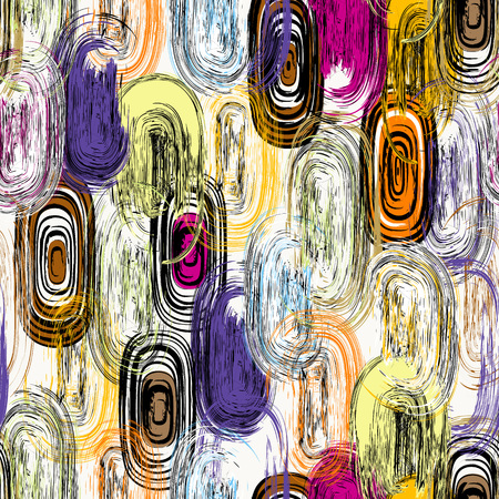 seamless background pattern, with circles/oval, strokes and splashes, grungy