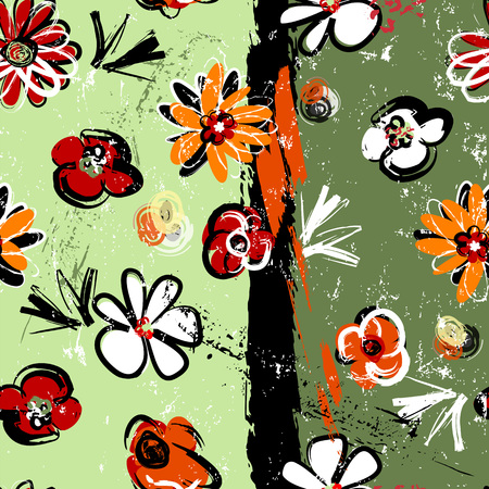 Ilustración de abstract background composition, with paint strokes, splashes and flowers, seamless - Imagen libre de derechos