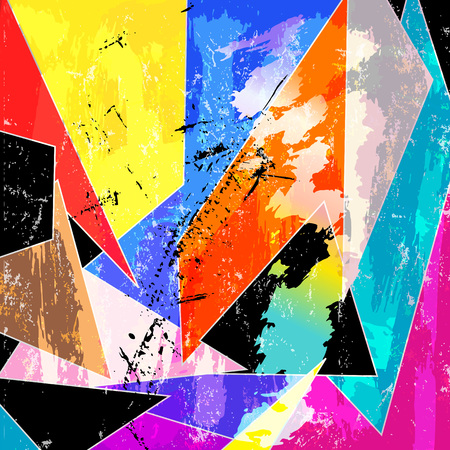 abstract geometric background, with triangles, strokes and splashes