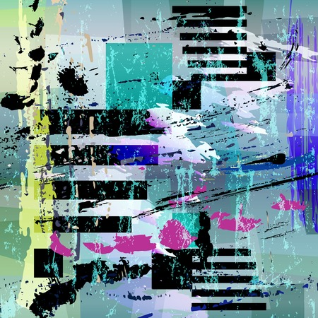 abstract geometric background composition, with strokes and splashes, grungy